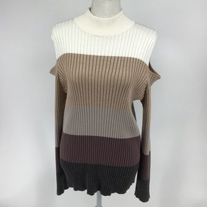 Chico's cold shoulder brown ombré striped sweater